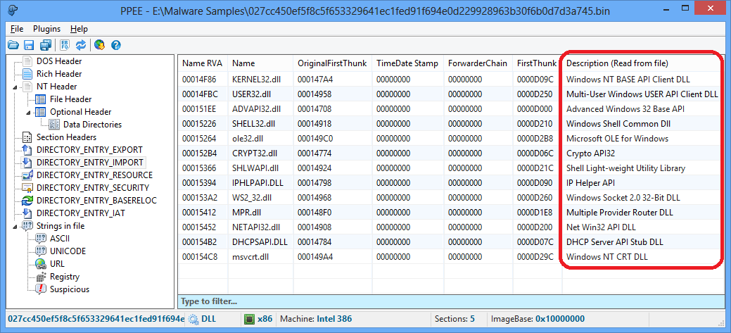 Imported module file description
